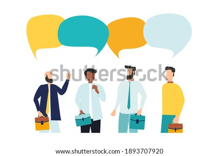 Vector illustration, flat style, people talk. People with thoughts on a white background, vector Stockfoto ©