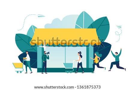 Vector illustration, flat style, various shops, discounts, purchase of goods and gifts, investing in real estate, shopping concept - Vector