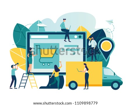Vector illustration, flat style, various shops, discounts, purchase of goods and gifts, real estate investment, shopping concept and delivery of goods through online form