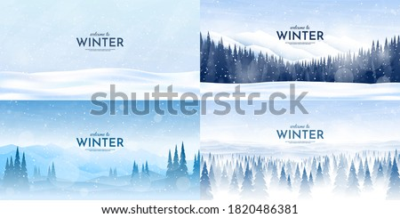 Vector illustration. Flat winter landscape. Simple snowy backgrounds. Snowdrifts.  Snowfall. Clear blue sky. Blizzard. Snowy weather. Winter season. Panoramic wallpapers. Set of backgrounds.
