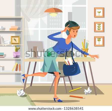 Vector Illustration Flat Woman with Phone Runs Towards. Artist Tight Schedule for Lecture Institute. Spot on Skirt Glass are Colored Pencils Bookshelf Table Computer Monitor on Background City.