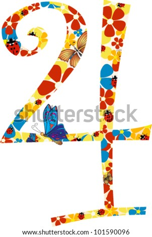 Vector illustration. Floral illustration of number four