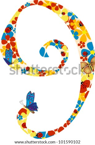 Vector illustration. Floral illustration of number nine
