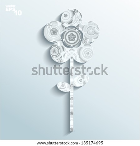 Vector illustration - flower made of paper