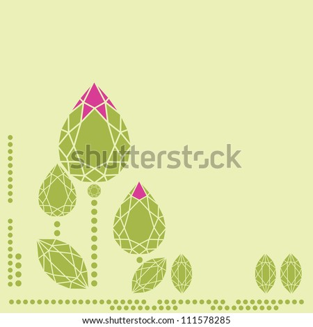 Vector illustration flowers from diamond design elements - cutting samples