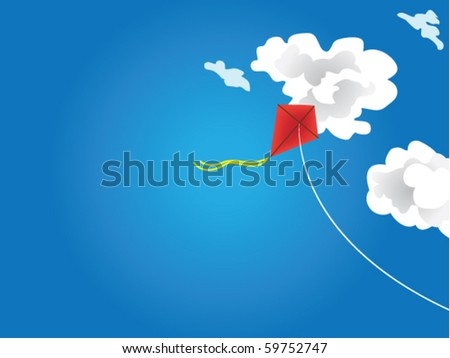 Vector illustration flying kite in the clouds
