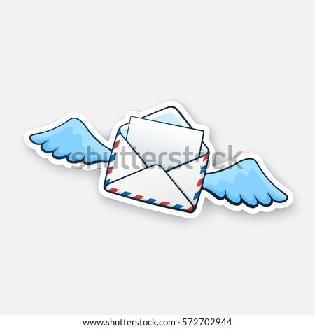 Vector illustration. Flying opened mail envelope with wings. Incoming message has been read. Cartoon style with contour. Decoration for greeting cards, patches, prints for clothes, emblems