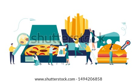 vector illustration, food quality control, fast food street food