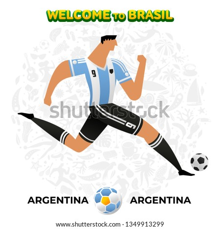 Vector illustration football player of Argentina in the background of a pattern of Brazilian national symbols, animals and tropical plants. Championship Conmeball Copa America 2019 in Brazil.