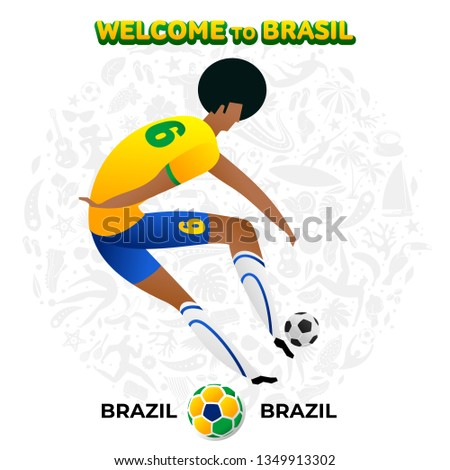 Vector illustration football player of Brazil in the background of a pattern of Brazilian national symbols, animals and tropical plants. Championship Conmeball Copa America 2019 in Brazil.