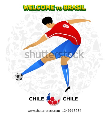Vector illustration football player of Chile in the background of a pattern of Brazilian national symbols, animals and tropical plants. Championship Conmeball Copa America 2019 in Brazil.