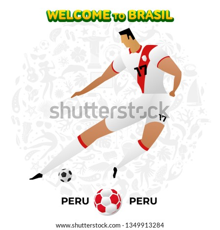 Vector illustration football player of Peru in the background of a pattern of Brazilian national symbols, animals and tropical plants. Championship Conmeball Copa America 2019 in Brazil.