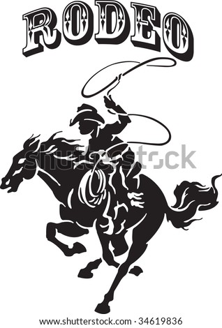 Vector illustration for a cowboy and horse - stock vector
