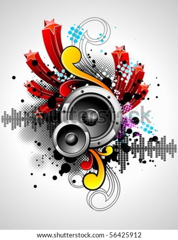 vector illustration for a musical theme with speakers and abstract design elements