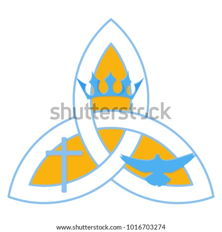 Vector illustration for Christian community: Holy Trinity. Trinity symbol with three hypostases as one God: Crown for the Father, Cross for the Son Jesus Christ, and the Holy Spirit as a dove.