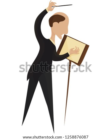 Vector illustration for Classical Music performance or concert: Orchestra Conductor isolated. Maestro Orchestra or Choir director or conductor made in a trendy minimalist style.