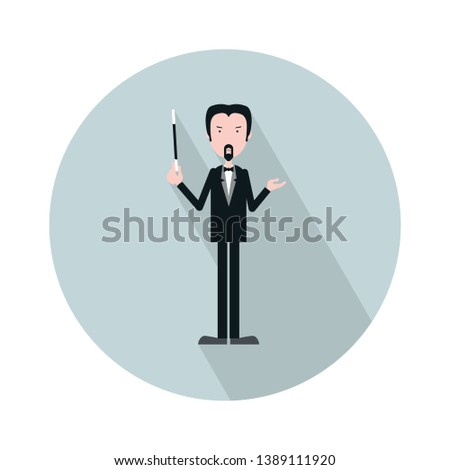 Vector illustration for Classical Music performance or concert: Orchestra Conductor isolated. Maestro Orchestra or Choir director or conductor made in a trendy minimalist style