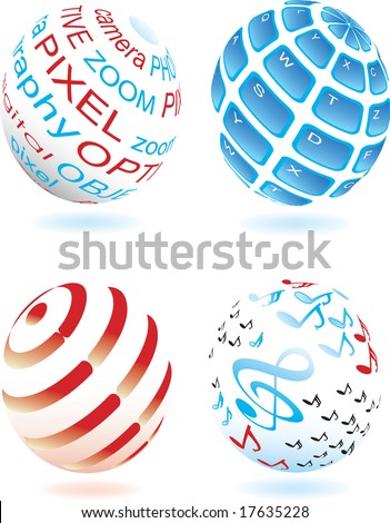 Vector illustration for different sphere