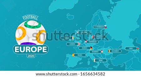 Vector illustration for European 2020 football championship with a map of Europe with all 12 of host countries marked, and a neutral logo with a ball and sign on blue background