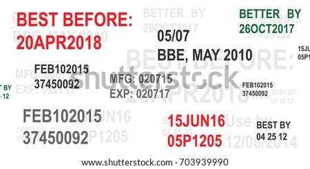 vector illustration for expiration date of product concept with dates and text horizontal banner