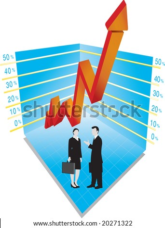 Vector illustration for graph and business people