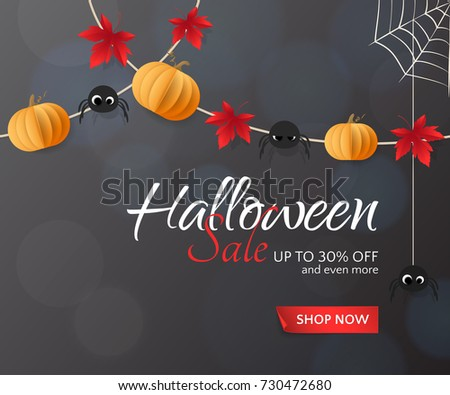 Vector illustration for Halloween Sale banners and flyers with holiday garlands. Festive dark background with paper pumpkins, spiders and red maple leaves for discount offers. With place for text.