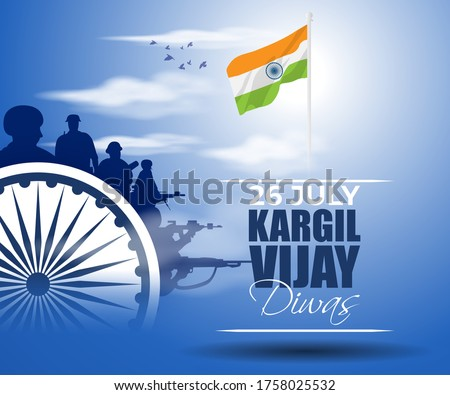 VECTOR ILLUSTRATION FOR 26 JULY VIJAY KARGIL DIWAS MEANS 26 JULY KARGIL (INDIAN BORDER PLACE NAME) VICTORY DAY