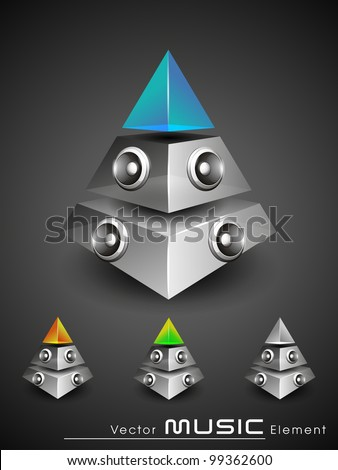 Vector illustration for musical theme with 3d pyramid speakers in yellow, green and blue color having transparency and glossy effect.EPS 10. Isolated on grey background.