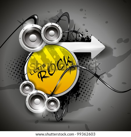 Vector illustration  for musical theme with glossy speakers in yellow color on abstract  grey background. EPS 10.