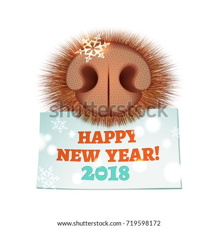 Vector illustration for New Year and Christmas card with dog muzzle and greeting note on the white background. Funny pink nose with a snowflake and brown fur.