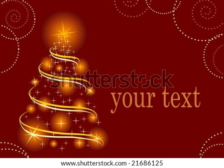 Vector illustration for new year and for christmas with christmas-tree on red background