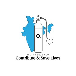 vector illustration for oxygen cylinder -contribute and save lives-India needs you.