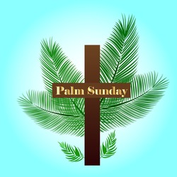 vector illustration for Palm Sunday background with text on cross and palm branches