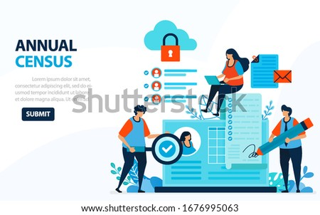 Vector Illustration For 2020 Population Census. Digital Concept With Survey And Check. Can Use For Landing Page, Template, Web, Mobile App, Poster, Banner, Flyer, Background, Website, Advertisement Stockfoto ©