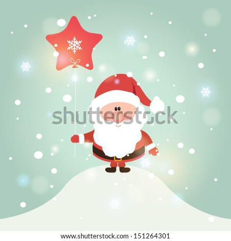 Vector illustration for retro christmas card. Snow landscape background with santa claus. #151264301