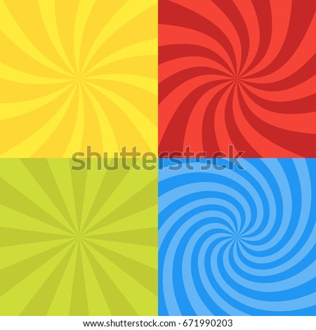 Vector illustration for swirl design. Swirling radial pattern background set. Vortex starburst spiral twirl square. Helix rotation rays. Converging psychedelic scalable stripes. Fun sun light beams.