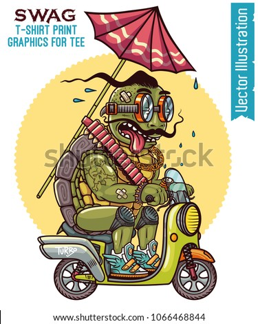 Vector illustration for t-shirt, graphics for tee, image for clothes and souvenirs. Funny turtle on scooter. Swag print turtle biker. Old turtle with mustache in glasses. Isolated layered illustration