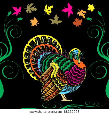 Vector Illustration for Thanksgiving with colorful Turkey and Fall Autumn Leaves.