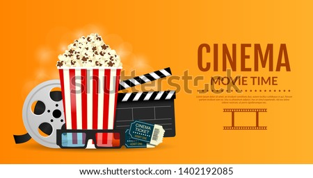 Vector illustration for the cinematography. Online cinema banner. Elements of the film industry, popcorn, film reel, clapper board, cinema tickets and 3d glasses.