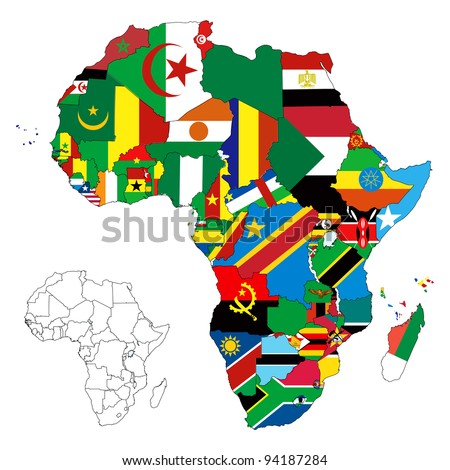 Vector illustration for the continent of Africa. Over 50 countries including several small islands, rivers and lakes not visible unless zoomed in. Very editable if needed.