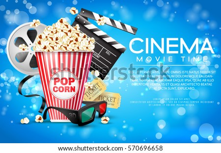 Vector illustration for the film industry. Elements of the film industry. A box of popcorn and other elements of the movie.