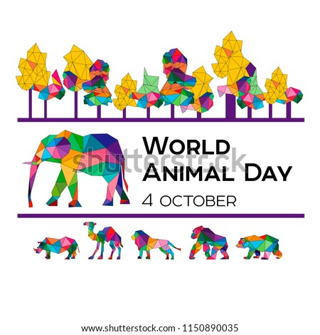 Vector illustration for the World Animal Day on October 4. Polygonal animals.