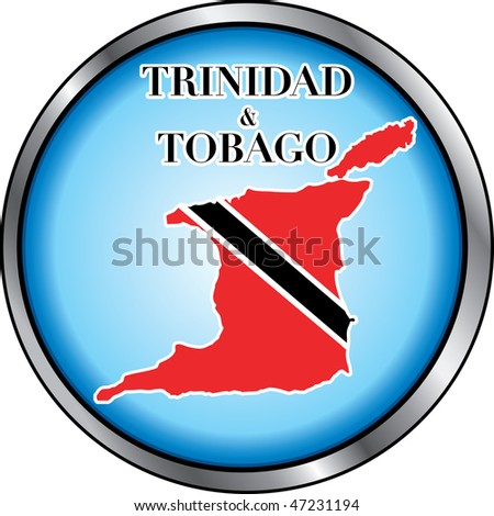 Vector Illustration for Trinidad & Tobago, Round Button. Used Didot font.