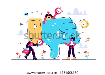 Vector illustration, for web page, banner, presentation, social media, documents, cards, posters. the concept of negative work, sad, fiasco, people leave bad reviews, bad job