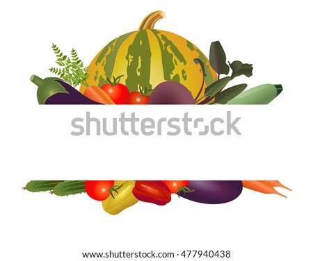 Vector Illustration. Frame of bright appetizing vegetables. #477940438