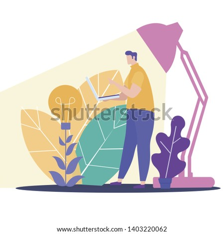 Vector Illustration. Fresh Idea. Idea Generation. Creating Business Ideas. New Technologies. Turn into Reality Thoughts. Use Electronic Media. Work on Project. Man Work on Laptop Night by Light Lamp.