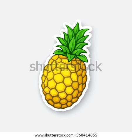 Vector illustration. Fresh tropical fruit pineapple. Healthy vegetarian food. Cartoon sticker in comics style with contour. Decoration for greeting cards, posters, patches, prints for clothes, emblems