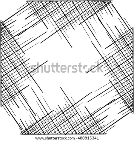 Vector illustration from the frame shaped lines. Hand drawn abstract background.