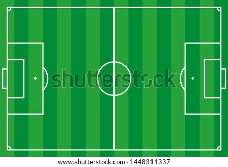 Vector illustration. Frontal view of soccer or european football field. Geometric and flat.