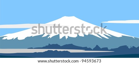 Vector illustration - Fujiyama - symbol of Japan.  Panorama: mountain landscape on background of sky and clouds